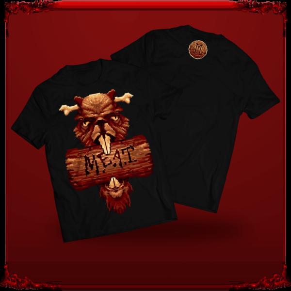 czarny t-shirt M.E.A.T. z nadrukiem Bober King